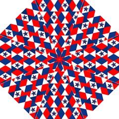 Patriotic Red White Blue 3d Stars Hook Handle Umbrellas (Medium)