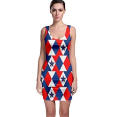 Patriotic Red White Blue 3d Stars Sleeveless Bodycon Dress