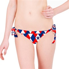 Patriotic Red White Blue 3d Stars Bikini Bottom