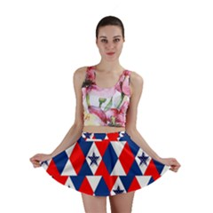 Patriotic Red White Blue 3d Stars Mini Skirt