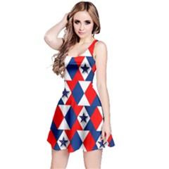 Patriotic Red White Blue 3d Stars Reversible Sleeveless Dress
