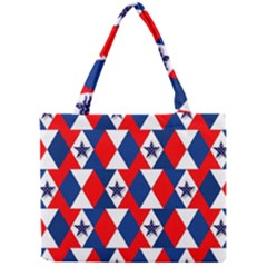 Patriotic Red White Blue 3d Stars Mini Tote Bag