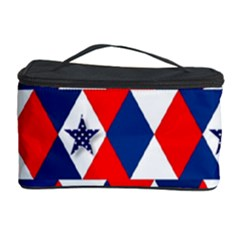 Patriotic Red White Blue 3d Stars Cosmetic Storage Case