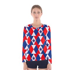 Patriotic Red White Blue 3d Stars Women s Long Sleeve Tee