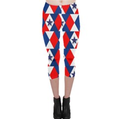 Patriotic Red White Blue 3d Stars Capri Leggings
