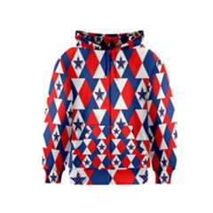 Patriotic Red White Blue 3d Stars Kids  Zipper Hoodie