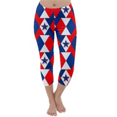 Patriotic Red White Blue 3d Stars Capri Winter Leggings