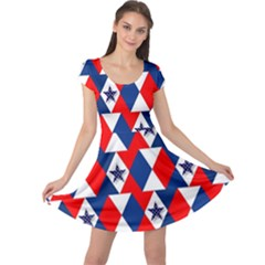 Patriotic Red White Blue 3d Stars Cap Sleeve Dresses