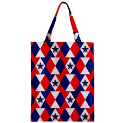 Patriotic Red White Blue 3d Stars Zipper Classic Tote Bag