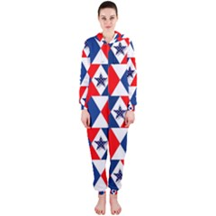 Patriotic Red White Blue 3d Stars Hooded Jumpsuit (ladies)