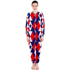 Patriotic Red White Blue 3d Stars Onepiece Jumpsuit (ladies)