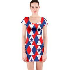Patriotic Red White Blue 3d Stars Short Sleeve Bodycon Dress