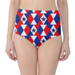 Patriotic Red White Blue 3d Stars High-Waist Bikini Bottoms
