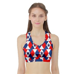 Patriotic Red White Blue 3d Stars Sports Bra with Border