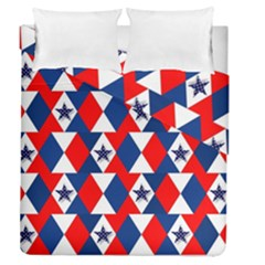 Patriotic Red White Blue 3d Stars Duvet Cover Double Side (queen Size)