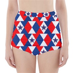 Patriotic Red White Blue 3d Stars High-Waisted Bikini Bottoms