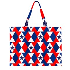 Patriotic Red White Blue 3d Stars Large Tote Bag