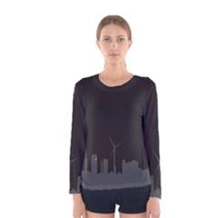 Windmild City Building Grey Women s Long Sleeve Tee