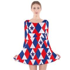 Patriotic Red White Blue 3d Stars Long Sleeve Velvet Skater Dress