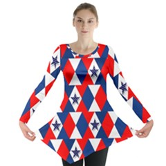 Patriotic Red White Blue 3d Stars Long Sleeve Tunic