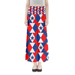 Patriotic Red White Blue 3d Stars Maxi Skirts