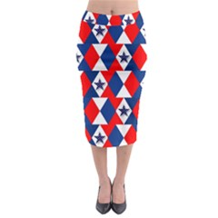 Patriotic Red White Blue 3d Stars Midi Pencil Skirt