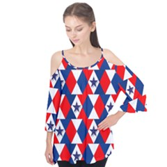 Patriotic Red White Blue 3d Stars Flutter Tees