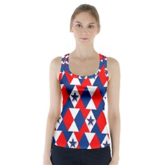 Patriotic Red White Blue 3d Stars Racer Back Sports Top