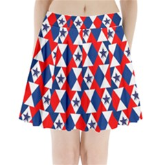 Patriotic Red White Blue 3d Stars Pleated Mini Skirt