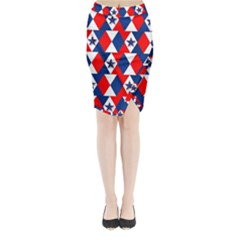 Patriotic Red White Blue 3d Stars Midi Wrap Pencil Skirt