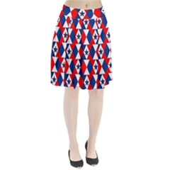 Patriotic Red White Blue 3d Stars Pleated Skirt