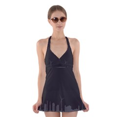 Windmild City Building Grey Halter Swimsuit Dress