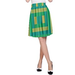 Pattern Grid Squares Texture A-Line Skirt