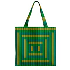 Pattern Grid Squares Texture Zipper Grocery Tote Bag
