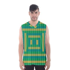 Pattern Grid Squares Texture Men s Basketball Tank Top