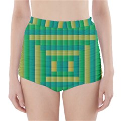 Pattern Grid Squares Texture High-Waisted Bikini Bottoms