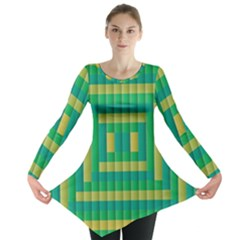 Pattern Grid Squares Texture Long Sleeve Tunic