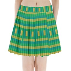 Pattern Grid Squares Texture Pleated Mini Skirt