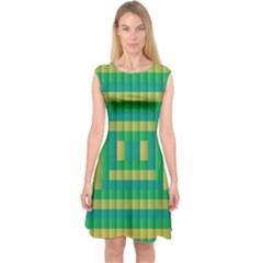 Pattern Grid Squares Texture Capsleeve Midi Dress