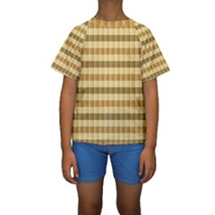 Pattern Grid Squares Texture Kids  Short Sleeve Swimwear