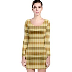 Pattern Grid Squares Texture Long Sleeve Bodycon Dress