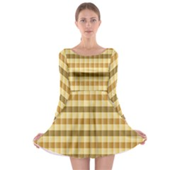 Pattern Grid Squares Texture Long Sleeve Skater Dress