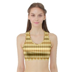 Pattern Grid Squares Texture Sports Bra with Border