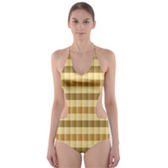 Pattern Grid Squares Texture Cut-Out One Piece Swimsuit