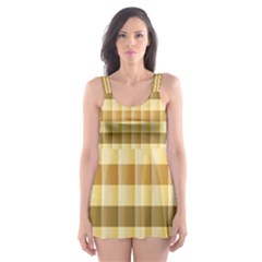 Pattern Grid Squares Texture Skater Dress Swimsuit