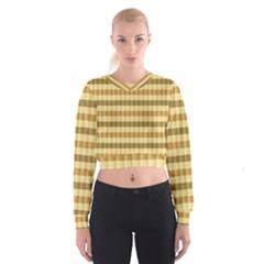 Pattern Grid Squares Texture Women s Cropped Sweatshirt