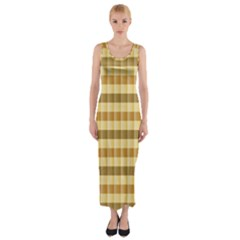 Pattern Grid Squares Texture Fitted Maxi Dress