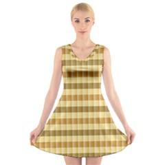 Pattern Grid Squares Texture V Neck Sleeveless Skater Dress