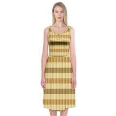 Pattern Grid Squares Texture Midi Sleeveless Dress