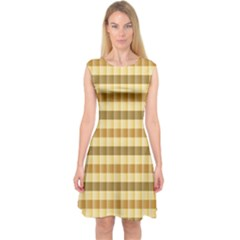 Pattern Grid Squares Texture Capsleeve Midi Dress